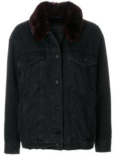 джинсовая куртка с отделкой из меха кролика  Alexander Wang