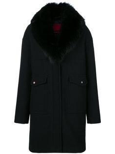 длинное пальто-пуховик с лисьим мехом Moncler Gamme Rouge