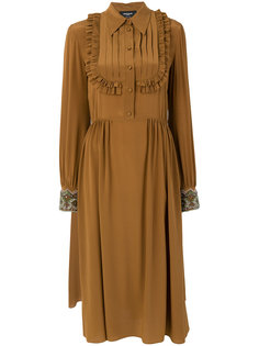 платье с плиссировкой и оборками  Rochas