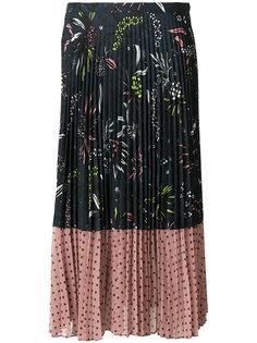 плиссированная юбка с цветочным принтом и узором в горох Markus Lupfer