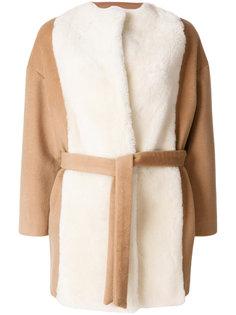 пальто с отделкой из овечьего меха и ремнем Ava Adore