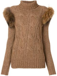 свитер с меховыми деталями Forte Couture