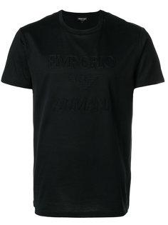 футболка с вышивкой логотипа Emporio Armani