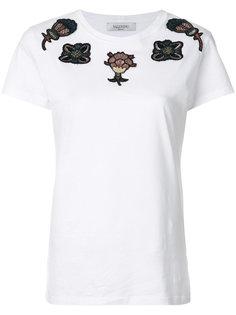 футболка с цветочной аппликацией  Valentino