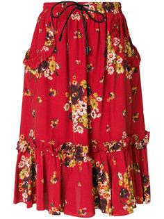 юбка с цветочным принтом и оборками  Coach