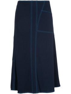 асимметричная юбка миди с декоративной строчкой  Marni