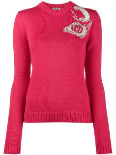 трикотажный свитер с узором интарсия  Miu Miu