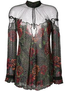 прозрачная блузка с цветочным принтом Just Cavalli