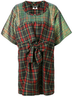 plaid print and sequin panelled dress with bow detail Junya Watanabe Comme Des Garçons