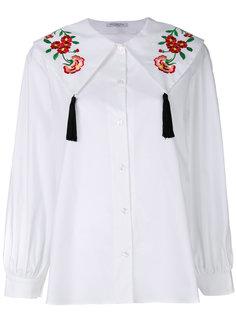 рубашка с вышивкой и кисточками на воротнике Vivetta