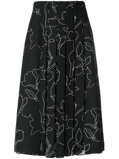 плиссированная юбка с принтом Carven