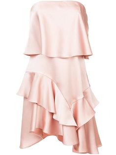 многослойное платье с асимметричным подолом Halston Heritage
