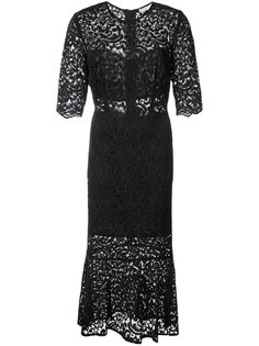 lace embroidered flared dress Veronica Beard