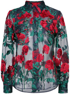 sheer rose embroidered blouse Adam Selman