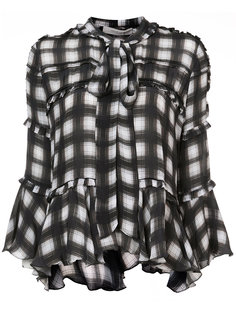 checked pussy bow blouse Preen By Thornton Bregazzi