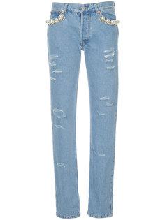 джинсы с жемчужной отделкой  Forte Couture