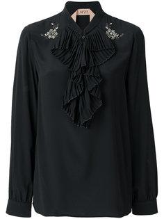 блузка с плиссированными рюшами спереди Nº21