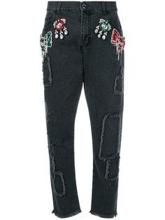 джинсы-бойфренды с украшением из кристаллов Marco Bologna