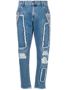 джинсы-бойфренды с рваным эффектом Marco Bologna