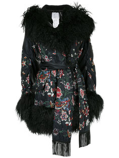 куртка с отделкой из овечьего меха и цветочным принтом Sacai
