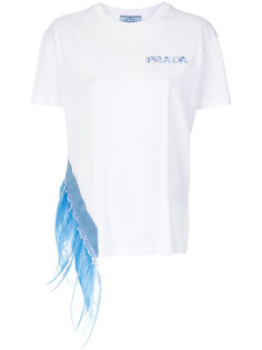 футболка с отделкой перьями Prada