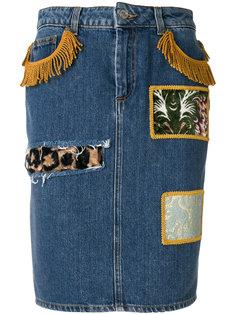 джинсовая юбка с заплатками Jeremy Scott