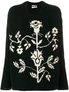 свитер с круглым вырезом и цветочным принтом Hache