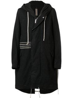 пальто с капюшоном и неравномерным подолом Rick Owens DRKSHDW