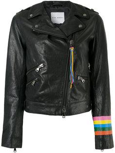 rainbow cuff biker jacket Mira Mikati