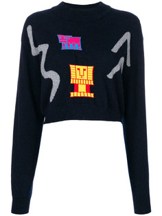 укороченный свитер с абстрактными заплатками Peter Pilotto