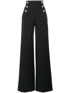 брюки с завышенной талией и пуговицами в морском стиле Alberta Ferretti
