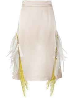 юбка с отделкой бисером и перьями  Prada