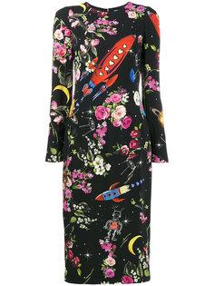 платье миди с цветочным принтом  Dolce & Gabbana