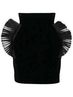 плиссированная мини-юбка с отделкой из органзы  Ronald Van Der Kemp
