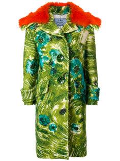 пальто с цветочным принтом  Prada