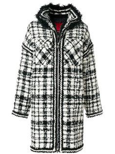 пальто в клетку с меховой отделкой  Moncler Gamme Rouge