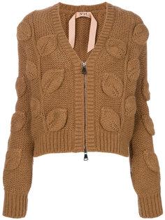 вязаный свитер с узором с листьями и V-образным вырезом Nº21