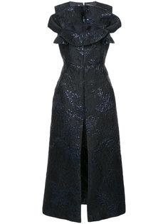 жаккардовое платье с оборками Delpozo