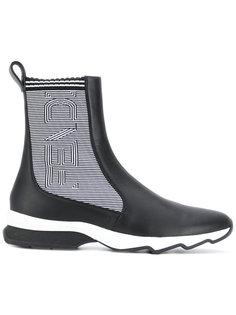 ботинки с полосатыми вставками и логотипом Fendi