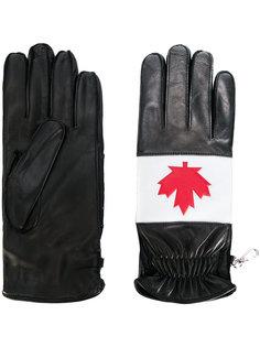 перчатки с принтом кленового листа Dsquared2