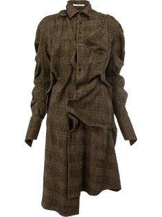 клетчатое платье-рубашка перекрученного дизайна Aganovich