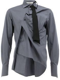 рубашка с декоративной сборкой и галстуком Aganovich