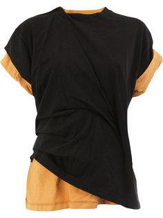 двухслойная футболка перекрученного кроя Aganovich