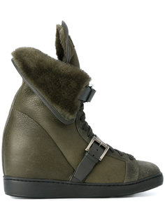 ботинки с овечьей шерстью на скрытом каблуке  Santoni