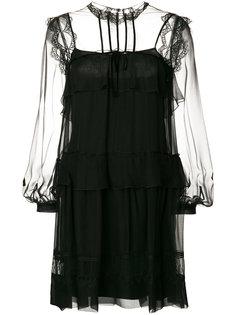 платье с полупрозрачной вставкой  Alberta Ferretti