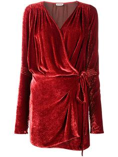 бархатное платье мини с запахом  Attico