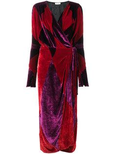 бархатное платье с запахом с принтом в ромб Attico