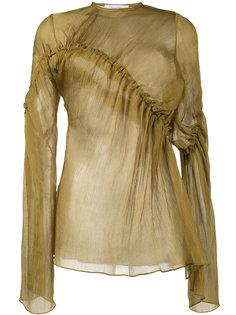 асимметричная шифоновая блузка с оборками  Beaufille