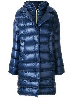 длинное дутое пальто с капюшоном  Herno