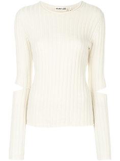 свитер с ребристой фактурой с разрезами на рукавах Helmut Lang